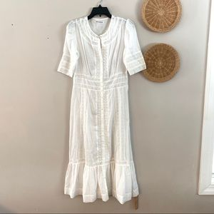 NWOT Reformation Linen Maxi Dress with Lace Detail